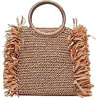JOSEKO Borsa da spiaggia estiva, borsa a tracolla intrecciata in paglia, stile vacanziero, adatta per i viaggi in…