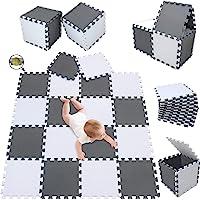 meiqicool Tappeto Puzzle Bambini Gioco, Bianco e Grigio,142 x 114cm,18 Pezzi