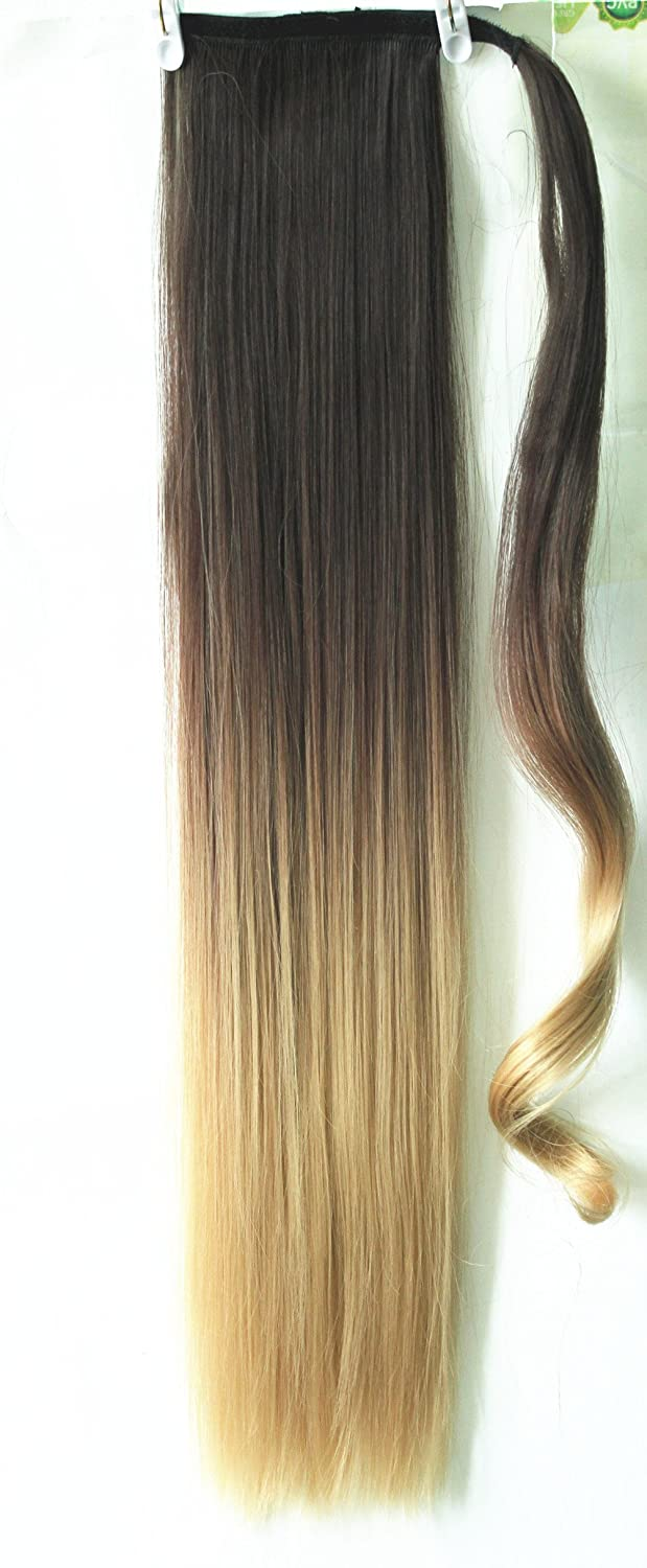 22 clip in hair extensions wrap around ponytail long straight 22 clip in hair extensions wrap around ponytail long straight ombre dip dye dark brown to sandy blonde amazon beauty pmusecretfo Image collections