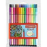 Feutre de dessin - STABILO Pen 68 - Pochette x 30 feutres pointe moyenne - dont 6 couleurs fluo