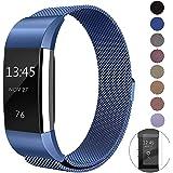 Bracelet pour Fitbit Charge 2,Fun Sponsor Acier Inoxydable Bracelet Rechange Fitbit charge 2 Fitbit Charge 2 Straps pour Fitbit Charge 2 Bracelet Fitbit + Bonus Protection Écran