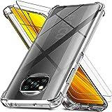 Ferilinso Coque pour Xiaomi Poco X3 NFC + 2 Pièces Verre Trempé Protection écran [Housse Transparent Silicone] [10X Anti…