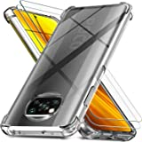 Ferilinso Hülle für Xiaomi Poco X3 NFC + 2 Stück Panzerglas Schutzfolie [Transparent Silikon Handy Hüllen] [Stoßfest…