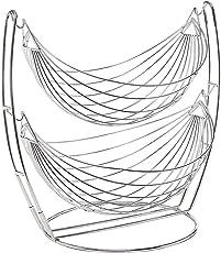 Planet Stainless Steel Double Step Swing Fruit & Vegetable Basket for Kitchen / Fruit Basket for Dining Table / Fruit & Vegetable Storage Basket