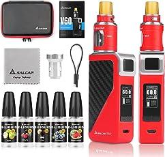 Salcar V60 E Zigarette/E Shisha Starterset und 5x10ml E liquid    V60 Mod Kit mit 2200mah Akku + 2.0ml Top Refill Verdampfer + 0.5 Ohm Verdampferköpfe, 0,0mg Nikotin (Rot)