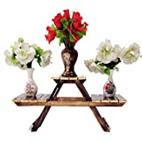 Vintage Wooden Multipurpose Folding Rack/Plant Stand with 3 Decks/Living Room Side Stand/Wooden Stool/Flower Pot Stand/Vase S