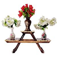 Vintage Wooden Multipurpose Folding Rack/Plant Stand with 3 Decks/Living Room Side Stand/Wooden Stool/Flower Pot Stand…