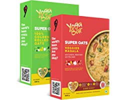 Yogabar Veggie Masala Flavour and 100% Rolled Super Oats Combo Pack| 400gm Each