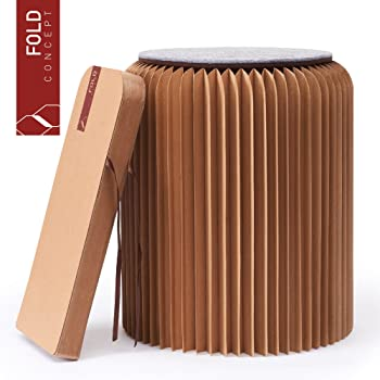 FOLD CONCEPT Faltbarer Papier Hocker Papphocker mit Sitzauflage | Innovativ & Multifunktional | brauner Karton | Recyclebar & Umweltfreundlich | Ideal für Wohnzimmer, Arbeitszimmer & Kinderzimmer | Falthocker (Braun, 42cm)