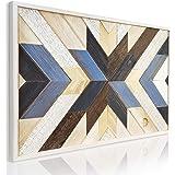 DYKANBO Cuadro con Mosaico Geométrico de Madera Reciclada para Decorar las paredes del Hogar con un Estilo Nórdico Escandinav