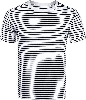 Sykooria Mens Short Sleeve/Long Sleeve Crewneck Striped T-Shirt Casual Striped Shirts