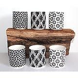 AAF Nommel  ® Mocca- Tee- oder Espresso Tassen 6 er Geschenk Set Kuro schwarz Weiss Retro Design, Nr. 006