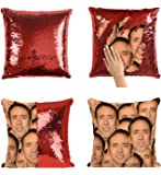 Nicolas Cage Mashup Faces Meme_P004 Sequin Pillow, Kissen, Sequin Pillowcase, Two Color Pillow, Fift for her, Gift for him, Pillow, Magic Pillow, Mermaid Pillow Cover, Kissenbezug, Christmas Gift