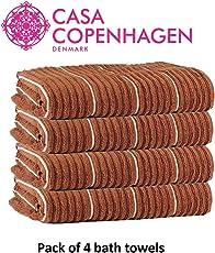 Casa Copenhagen Linea Ribbed Zero Twist Premium Cotton 600 GSM 4 Pcs Bath Towel Set - Toffee