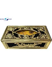 Kingsway Classic Royal/Castle Tissue Paper Napkin Holder Box for Cars, Offices & Homes (Black-Golden Color, Velvet, Free Tissue Papers Inside)