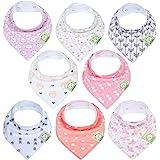 Baberos para bebé tipo bandolera para niñas - Baberos tipo pañuelo, de algodón orgánico súper absorbente - Babero para baba d