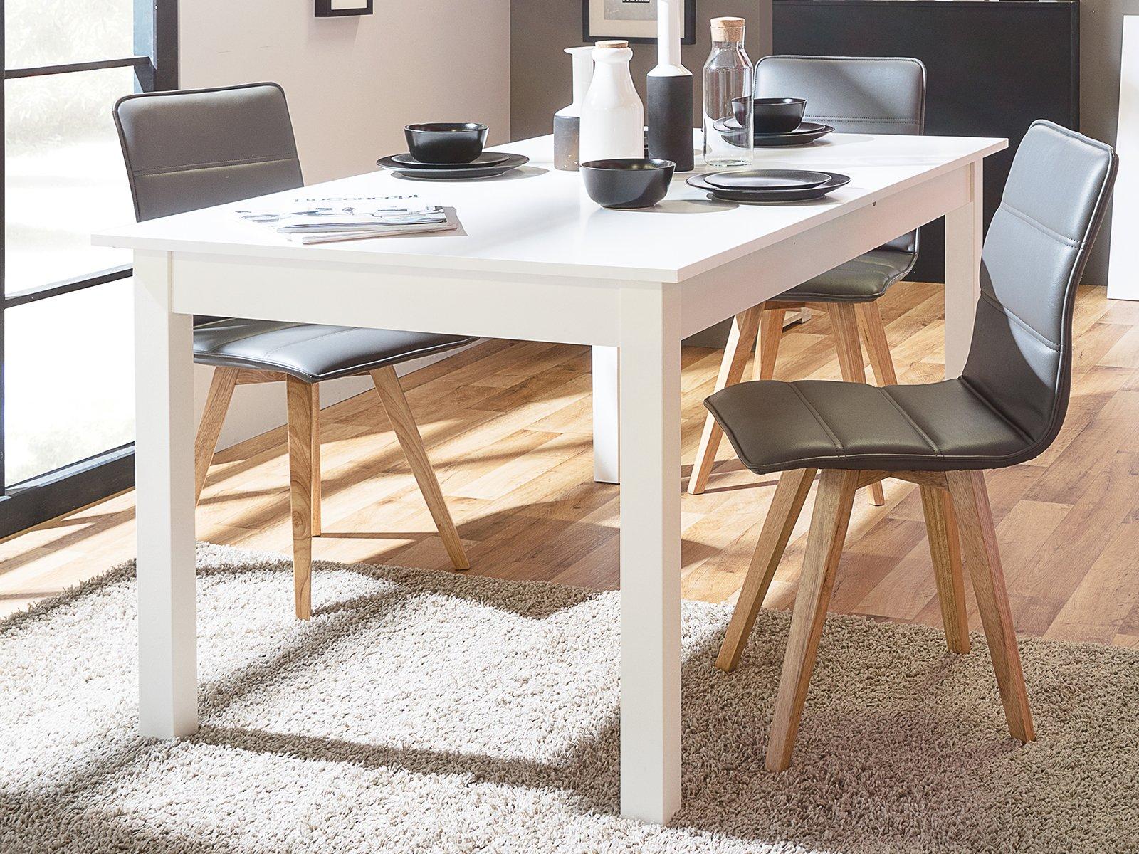 möbelando Esszimmertisch Küchentisch Auszugtisch Holztisch Esstisch Tisch Crawley IV Weiß 1
