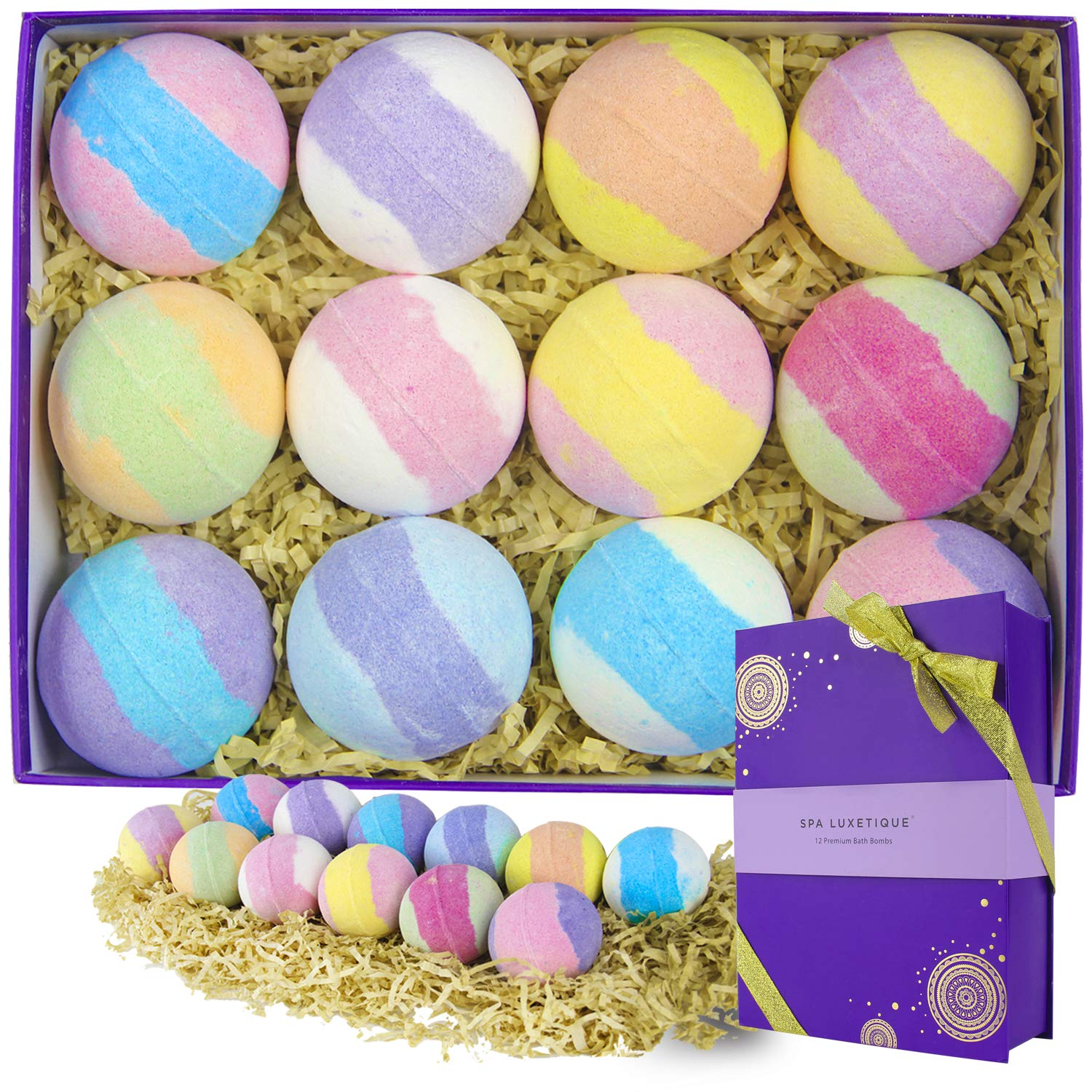 Spa Luxetique Bath Bombs Gift Set (12X3.2oz), Handmade Bubble Bath Gift Set, Natural Bubble Fizzes Spa Kit with Vegan Shea & Cocoa Butter Dry Skin Moisturize. Birthday, Christmas Gifts for Women.