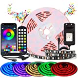 BIHRTC RGB LED Strip 2m LED Streifen Sync mit Musik Wasserdichte LED Band mit APP-Steuerung und Fernbedienung 24 Tasten, 120