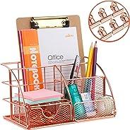 Rose Gold Desk Organizer with 6pcs Metal Paper Clips, FBve All in One Metal Desktop Organizer - Pen, Memo, Business Card, Pap