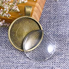 SUPVOX Round Bezel Pendant Blanks Trays with Glass Dome Tiles Cabochon Settings 20 Set