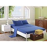 ملاية سرير بأستك 180 × 200 سم مع 2 كيس خدادية 50×70 سم من سنوز، ازرق