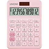 UNIONE Pink Calculator with a Bright LCD, Dual Power Handheld Desktop. Business, Office, High School