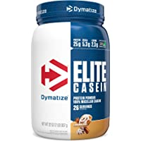 Dymatize Elite Casein 2 lbs Protein Powder with Micellar Casein for Muscle Growth and Recovery, Cinnamon Bun, 26 Servings, 907 gm