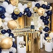PartyWoo Ballon Blanc Dore Bleu, 50 pcs 12 Pouces Ballon Bleu Marine, Ballons Bleu Roi, Ballon Blanc, Ballon Doré, Ballon Con