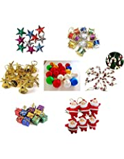 Fizzytech 70 pcs Small/Mini Christmas Tree Decorations Set (Balls, Bells, Gifts, Drums, Stars, Candy Sticks & Santa Claus)