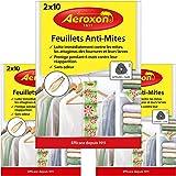 Aeroxon - Papiers Anti-Mites Textiles - 3x20 pièces - Contre Les Mites, Les coléoptères et Les Larves - Protection Anti-Mites