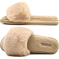 COFACE Pantofole Donna Pelliccia Finta Ciabatte Donne Memory Foam Punta Aperta Pelose Pantofole Invernali Supporto Arco…