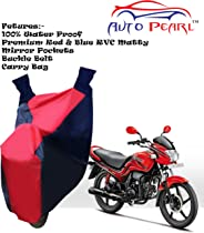 Autopearl Water Proof PVC Bike Body Cover with Mirror Pockets, Buckle Belt, Carry Bag forMotoCorp Passion Pro (Red Blue)
