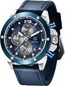 BY BENYAR Casual Orologio Uomo Analogico Al quarzo Cronografo Impermeabile Sportivo orologio da polso da uomo con Cinturino Cuoio