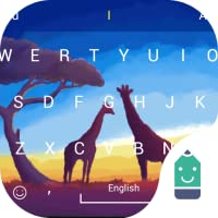 Giraffe in Sunset Theme&Emoji Keyboard
