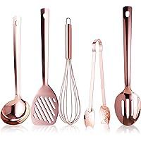 Juvale Lot de 5 ustensiles de cuisine en or rose – Louche plaquée cuivre, fouet à ballon, pince, spatule ajourée et…