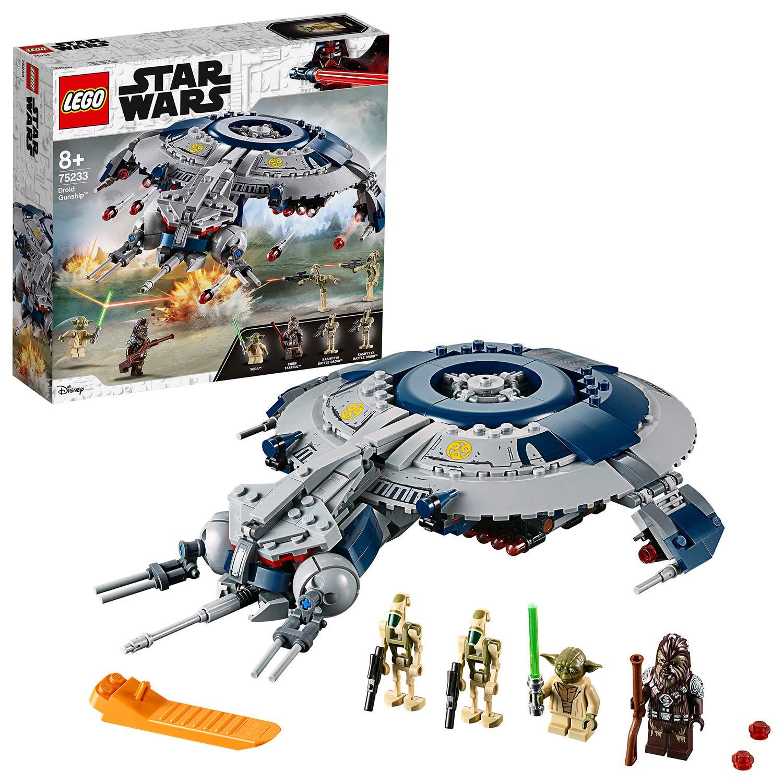 LEGO Star Wars – Cañonera Droide, juguete de construcción y aventuras de La Guerra de las Galaxias con minifigura de Yoda (75233)