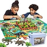 Buyger Figura de Dinosaurios Juguetes con Tapete de Juego, Realista Juguetes de Dinosaurios Educativos Regalos para Niños Niñ