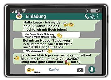 Fesselnd Einladungskarten Zum Geburtstag Als Tablet Handy Chat Einladung Geburtstag  10 Stück