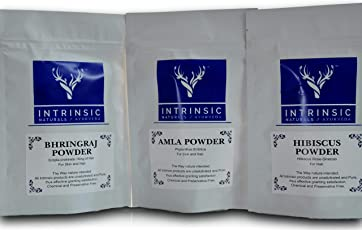Intrinsic Amla Bhringraj Hibiscus Powder for Hair Growth, 210g (AmHiBh_E)