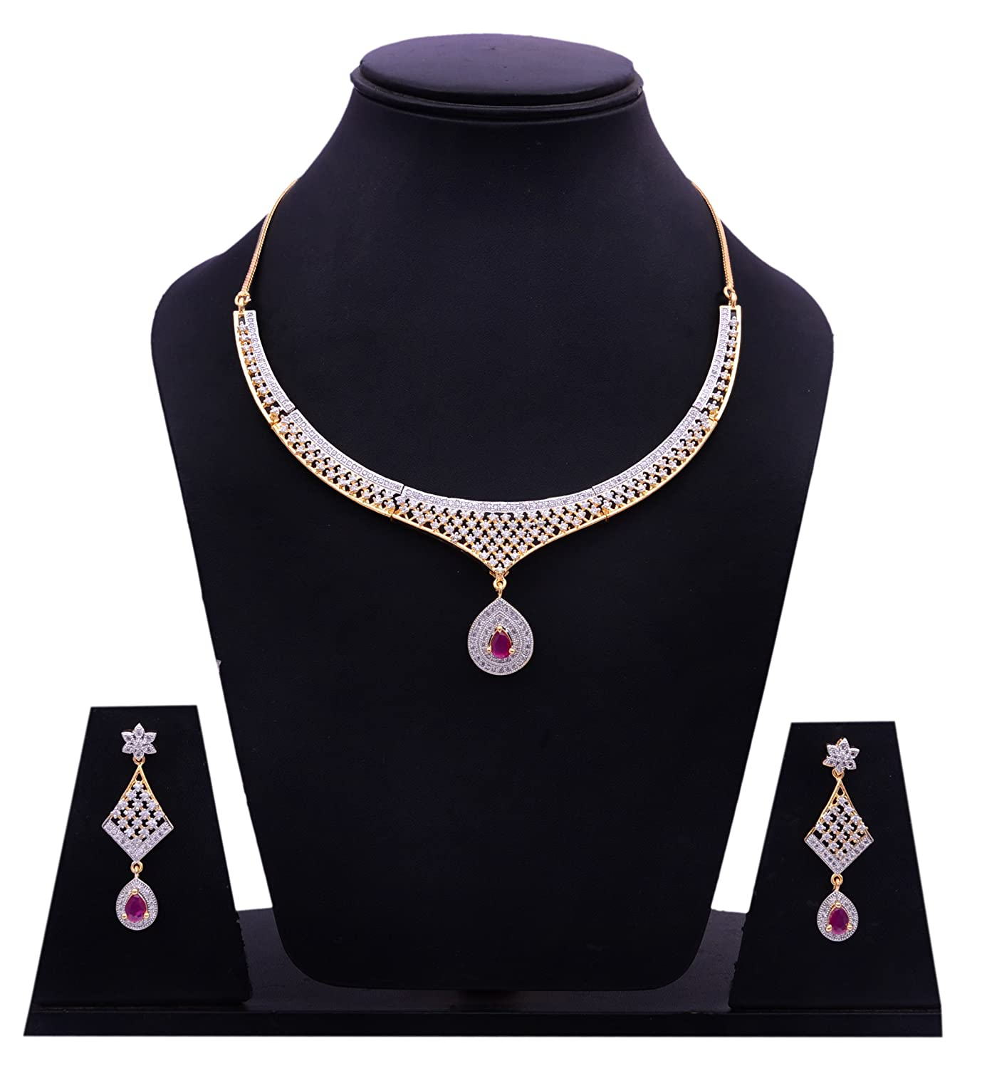 Buy Sitashi Ad American Diamond Imitation Necklace Set For Women