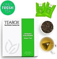 Teabox Organic Darjeeling Green Tea 32g, 16 Teapac Teabags | Sealed-at-Source Freshness