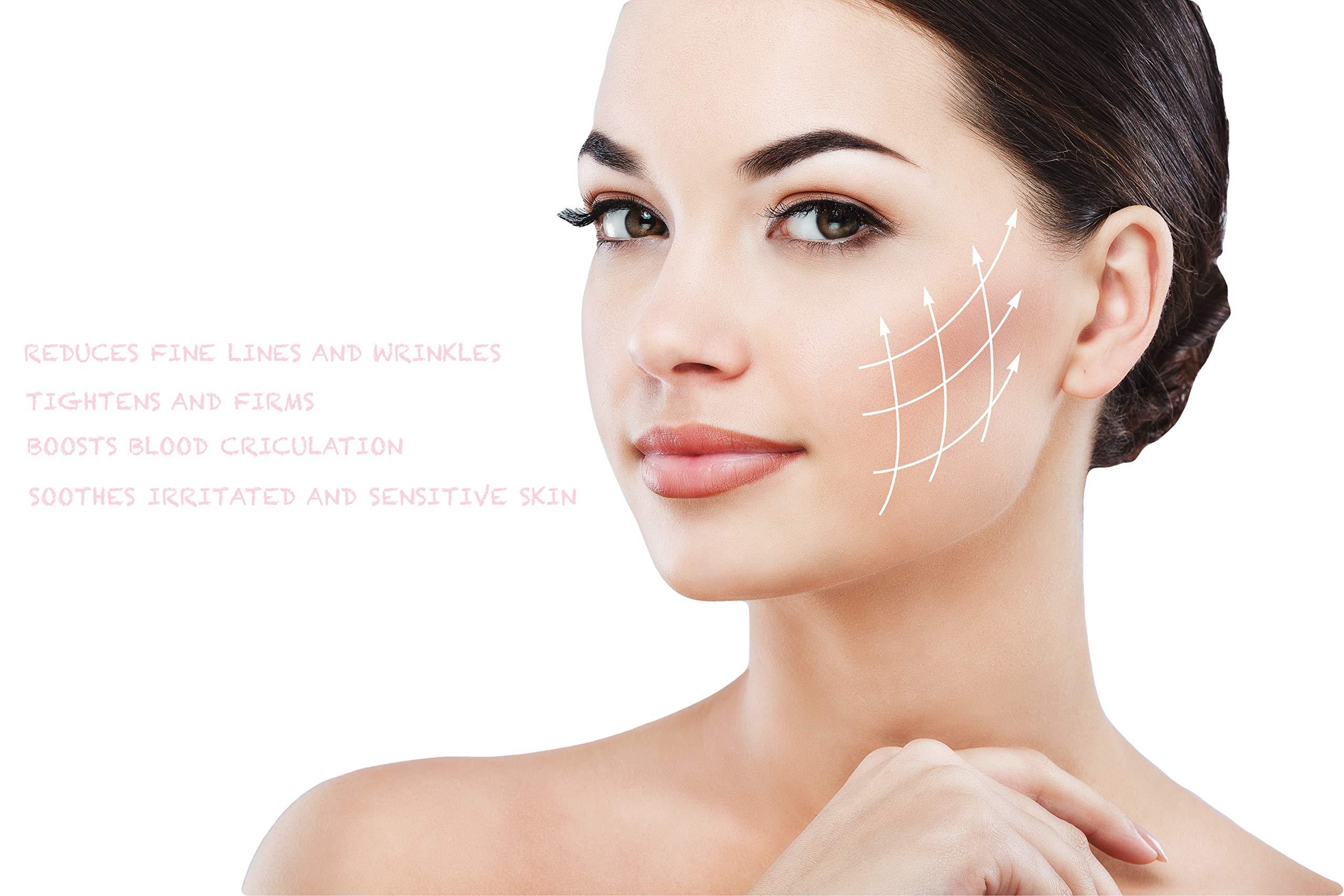 Natural Rose Quartz Facial Massage Jade Roller for Face Neck Eye Body in  Rose Gold  Anti-aging Anti Wrinkle Slimming Healing Rejuvenation & Beauty