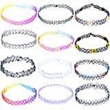 ZWOOS Tattoo Choker Collana 12PC Girocollo Elastico Stretch Gotico Tattoo Henna Choker Collana Set (Fiore)