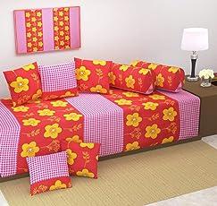 New Premium Quality Diwan Set- Heavy Fabric Floral Design Diwan Bedsheet Set of 8 Pieces for Living Room- 100% Cotton Modern Diwan Set (Set of 8 Pieces)-by The Decor Hub