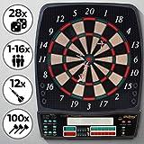 Physionics Elektronische Dartscheibe - 28 Spiele, 131 Spielvarianten, inkl. 12 Dartpfeile, 100 Ersatz-Pfeilspitzen und Netzteil, 8 Spieler - LED Anzeige Dartboard, Dartautomat, Dartspiel, Darts