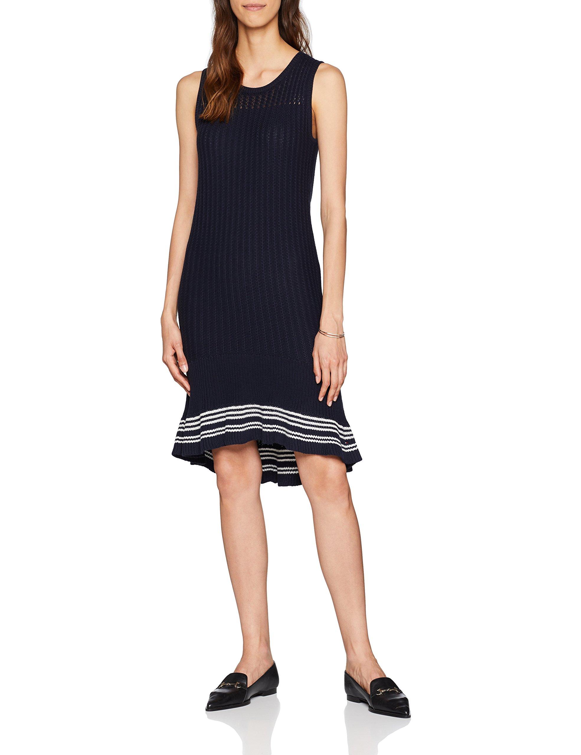 Tommy Hilfiger Valeska C-nk Ruffle Hem Dress Vestido para Mujer