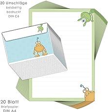 """Briefpapier-Set für Kinder """"MONSTER"""" 20 Blatt DIN A4 mit Linien inklusive 20 bedruckten Umschläge/ Briefpapier Kinder / Briefpapier Jungs"""