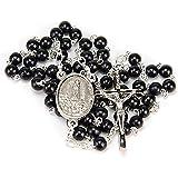 Rosario Madera Negra, Convertible en Colgante Hombre o Collar Mujer. Rosarios Religiosos con Medalla de la Virgen de Fatima y