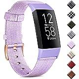 Wanme Compatibel met Fitbit Charge 4 Strap/Fitbit Charge 3 Strap, ademende geweven stof accessoires riem met klassieke gesp v